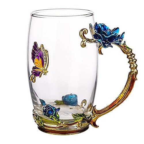 TIANG Glass Tea Cup 12oz Lead Free Handmade Enamel Butterfly And Blue Rose Flower
