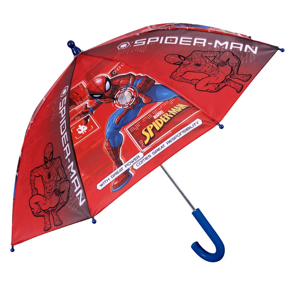Spider Man Stick Umbrella for Boys Red with Blue Details Marvel Spiderman Kids Umbrella Perletti Safety Opening Diameter 76 cm PFC Free Windproof and Resistant Brolly in Fiberglass