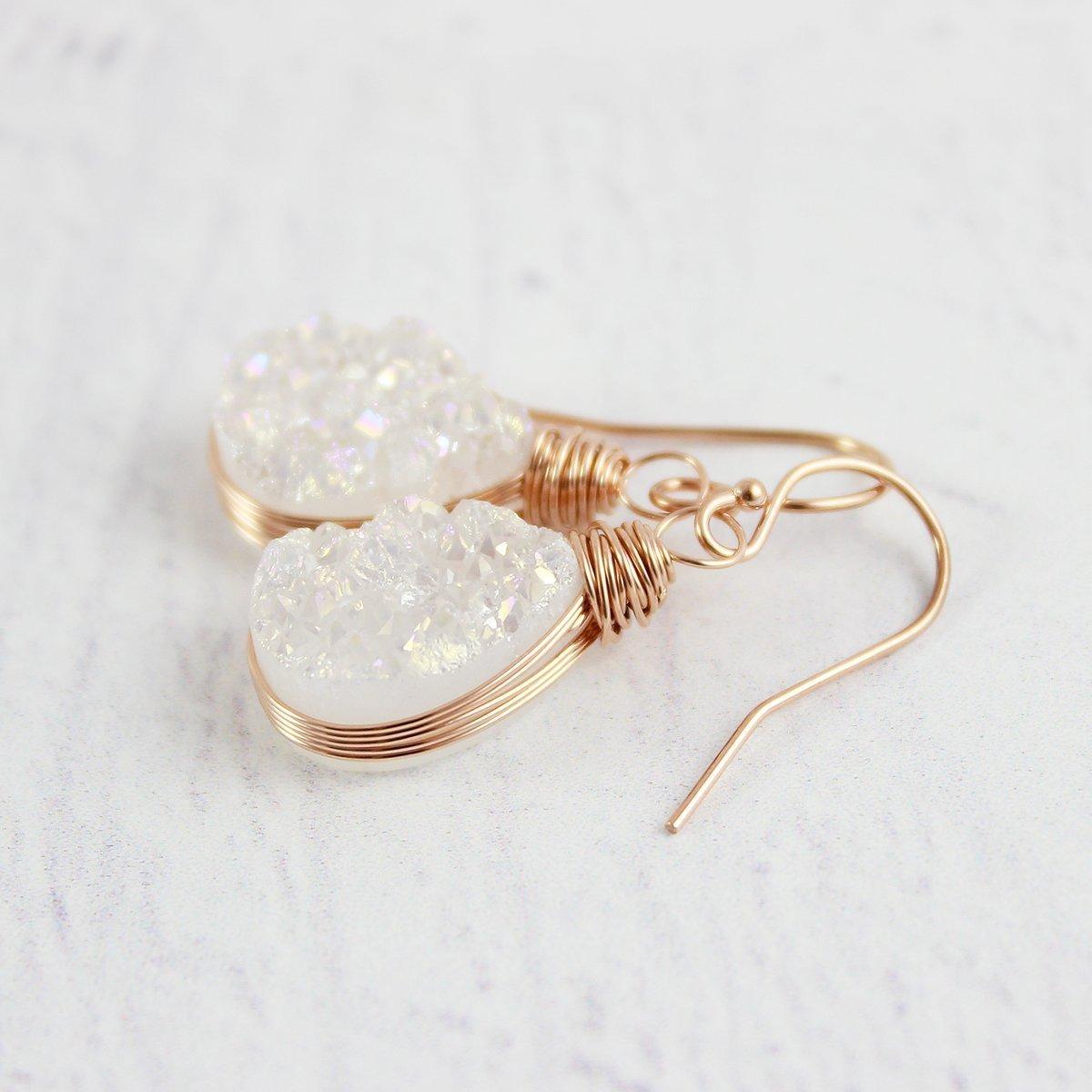 White Druzy Rose Gold Filled Teardrop Earrings