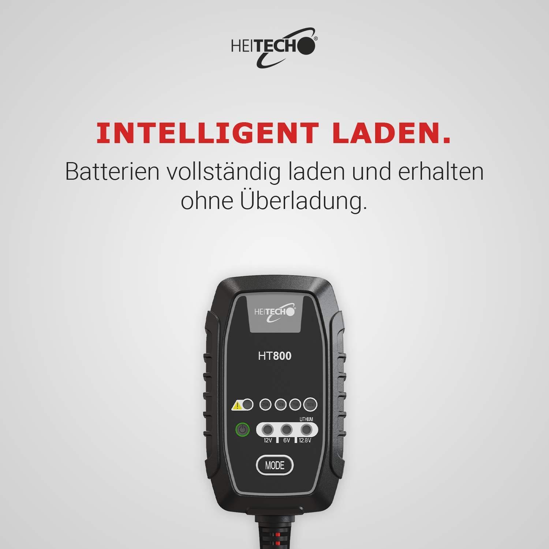 Motorrad UVM Batterieladeger/ät f/ür 6-12V Blei /& 12,8V Lithium Akkus Erhaltungsladeger/ät f/ür Auto spritzwassergesch/ützt IP65 T/ÜV /& GS gepr/üft HEITECH KFZ Ladeger/ät HT800 vollautomatisch