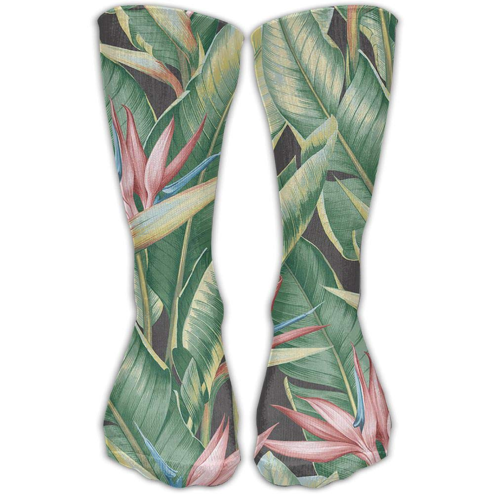 Protect Wrist For Cycling Moisture Control Elastic Sock Tube Socks Green Leaves And Pink Flowers Athletic Soccer Socks