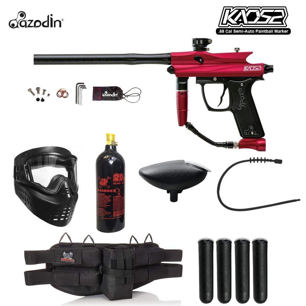 MAddog Azodin KAOS 2 Silver Paintball Gun Package - Red/Black by Maddog