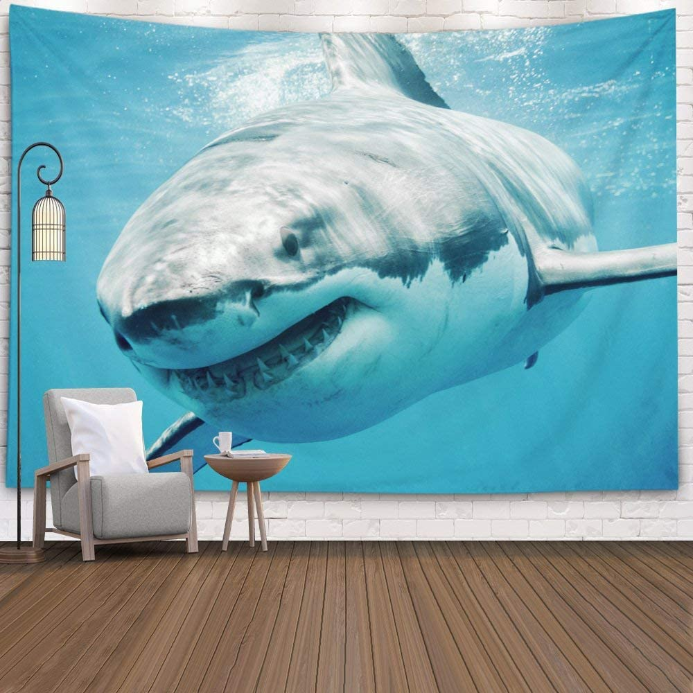Shorping Fishing Tapestry, 80x60Inches Hanging Wall Tapestry for Décor Living Room Dorm White Shark Close Smiling Swimming