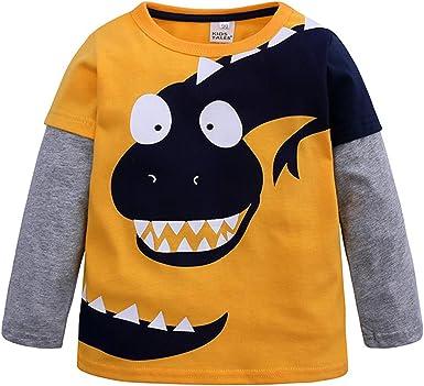 Camiseta Niño Dinosaurio Sudadera Estampado Camisa Algodón de Manga Larga Top para Niños