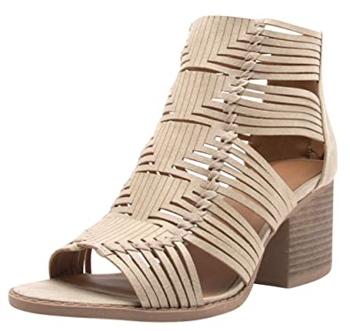 81b66fdbaaed Cambridge Select Women s Open Toe Woven Braided Strappy Caged Cutout Chunky  Stacked Block Heel Ankle Bootie