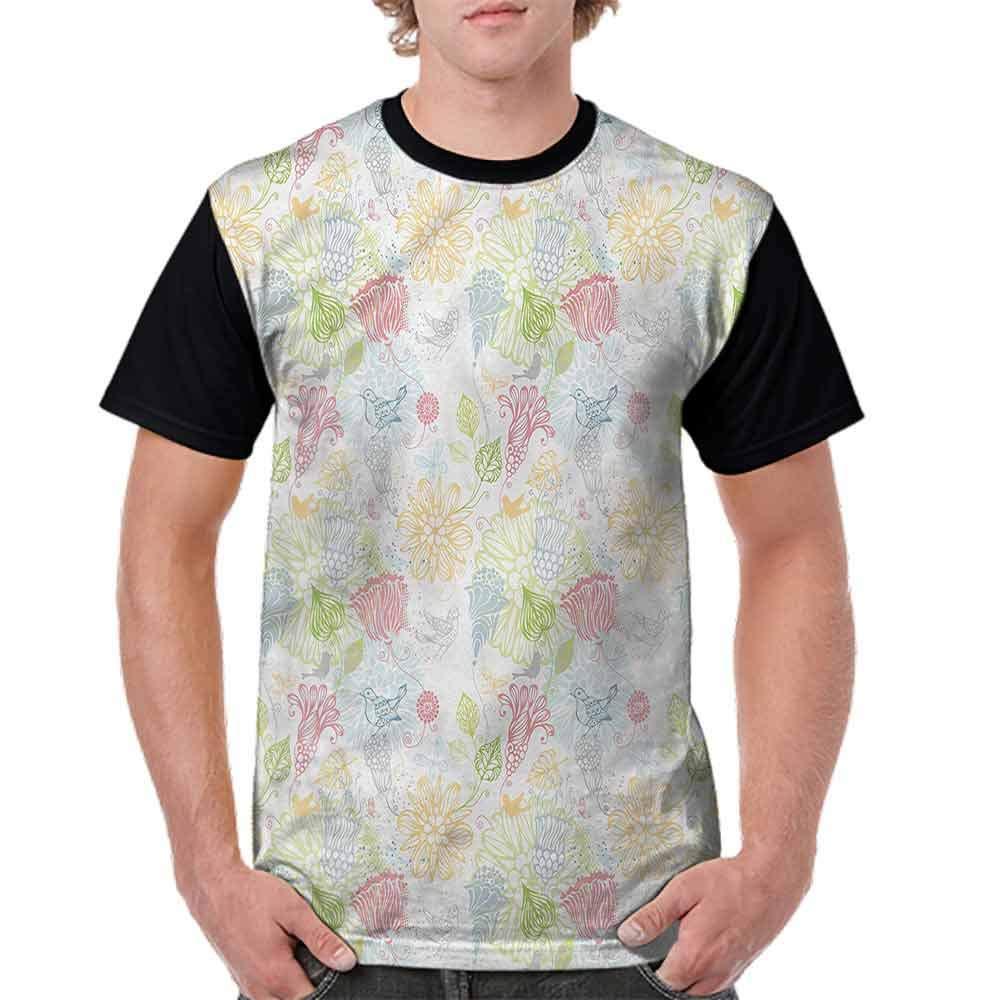 Cotton T-Shirt,Soft Toned Flowers Birds Fashion Personality Customization