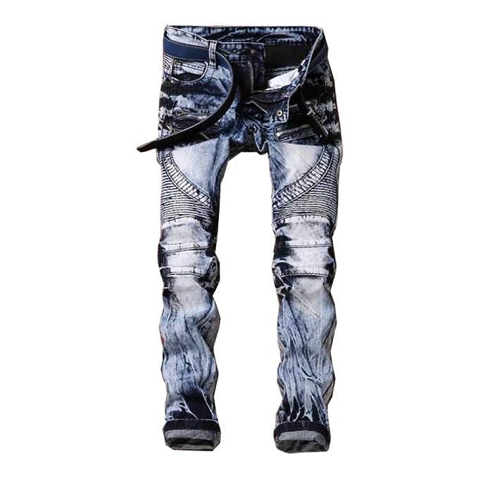 WFL Pantalones Vaqueros de la Marca Jeans Tide de la Moda de ...