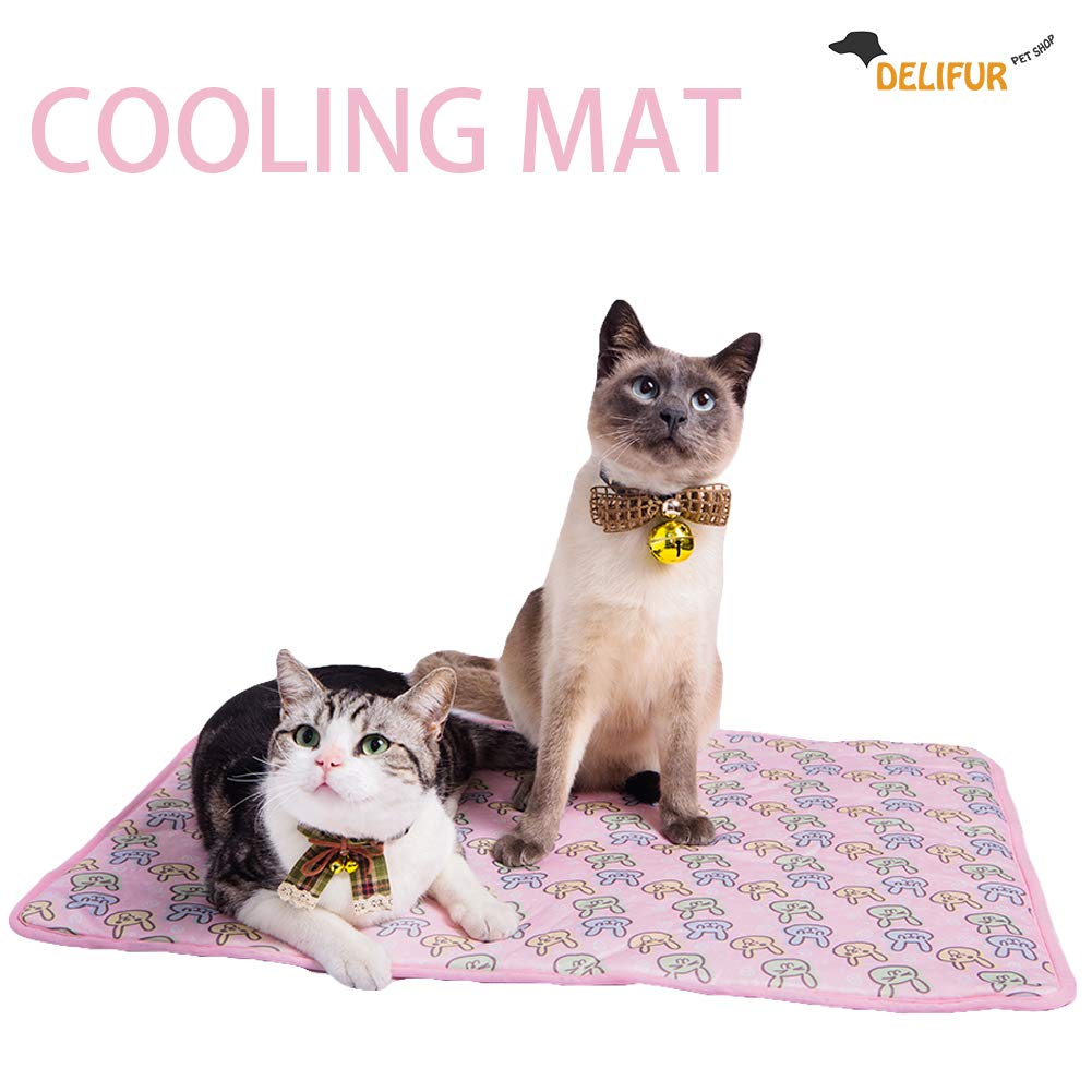 Delifur Cat Cooling Mat Pet Self Cooling Pad Washable Summer Bed for Dogs and Adults (M, Pink)