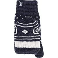 Heat Holders Winter Warm Thermal Fairisle Fingerless Converter Gloves Mittens