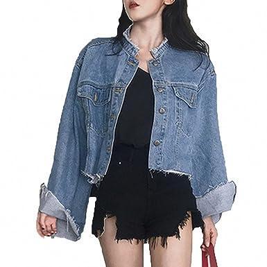 Womens Denim Jacket Vintage Loose Long Sleeve Jeans Coat Jackets Blue One Size