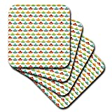 3dRose Anne Marie Baugh - Patterns - Cute and Colorful Mexican Hats On A White Background Pattern - set of 8 Coasters - Soft (cst_295477_2)