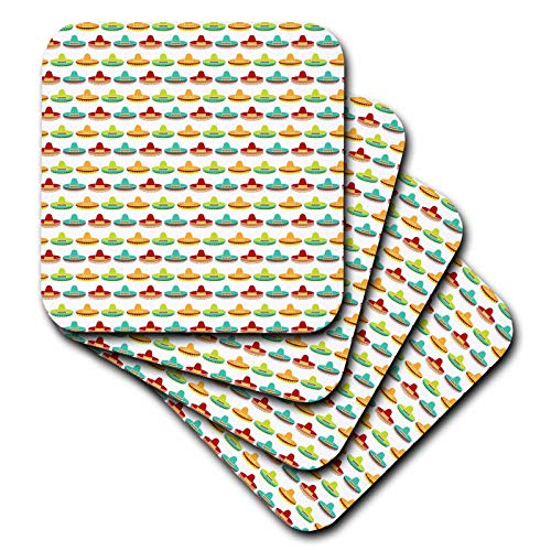 3dRose Anne Marie Baugh - Patterns - Cute and Colorful Mexican Hats On A White Background Pattern - set of 8 Coasters - Soft (cst_295477_2) by 3dRose