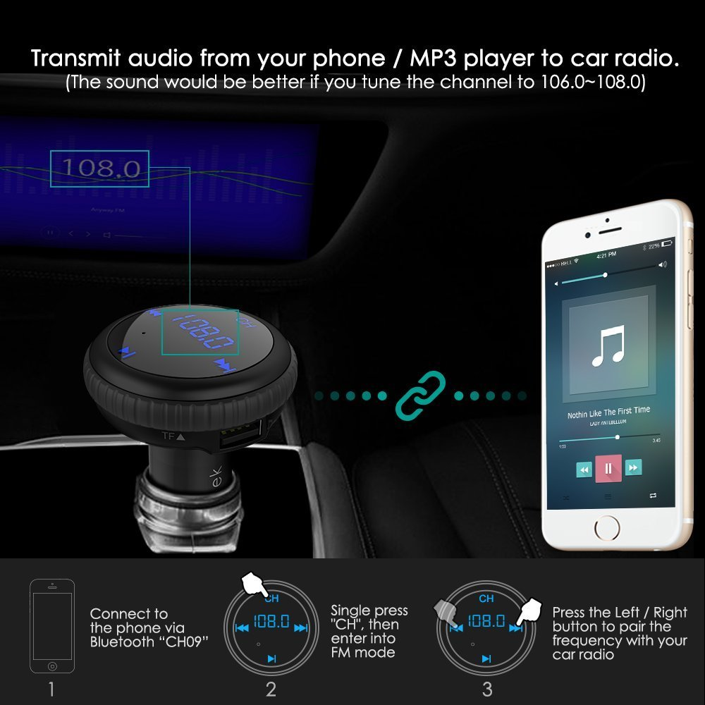 CHGeek Bluetooth 4.2 FM Transmitter 5V/2.1A [Smart Car Locator] Wireless Audio MP3 Player Radio Adapter Receiver Hands-free Car Kit with Dual Port USB Car Charger & LED Display (Black) by CHGeek (Image #3)