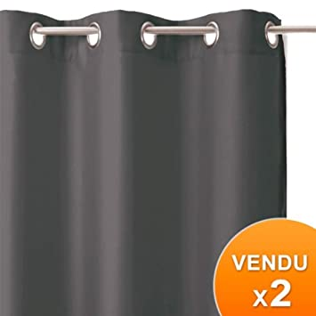 Set of 2 blackout curtains with eyelets - Colour: DARK GREY ...
