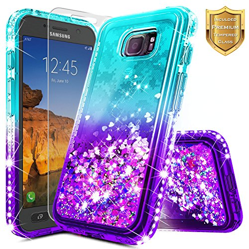 Galaxy S7 Active Case (G891) w/[Tempered Glass Screen Protector], NageBee Glitter Liquid Quicksand Waterfall Floating Flowing Sparkle Shiny Bling Diamond Girls Cute Case -Aqua/Purple