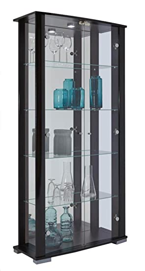 015a9a969 Home Stella 2 Glass Door Wide Display Cabinet (Black): Amazon.co.uk ...