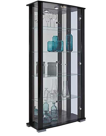 184f9844be98 HOME Stella Glass Display Cabinet Lockable Wide Floor Standing with Mirror  Back