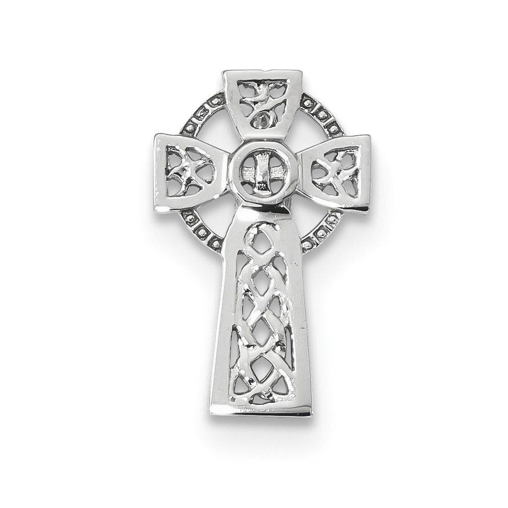 12.22mm 14ct Or blanc poli Croix Celtique Chaîne Slide JewelryWeb QTS331033NC