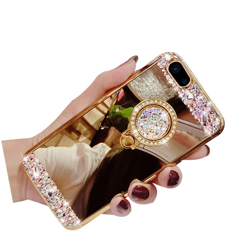 Inspirationc ラグジュアリー クリスタル ラインストーン ソフトラバーバンパー キラキラ光るダイヤモンド ラメ ミラー メイクアップケース iPhone 8 Plus 5.5インチ用 取り外し可能 360度リングスタンド iPhone 8[4.7 Inch] ゴールド B075NB4F9G iPhone 8[4.7 Inch]|ゴールド ゴールド iPhone 8[4.7 Inch]