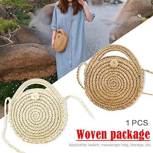 Hand A Shoulder Handwoven Bag Package Beach woven Style Bag Oshide Round Pure Retro Rattan qSZw8T