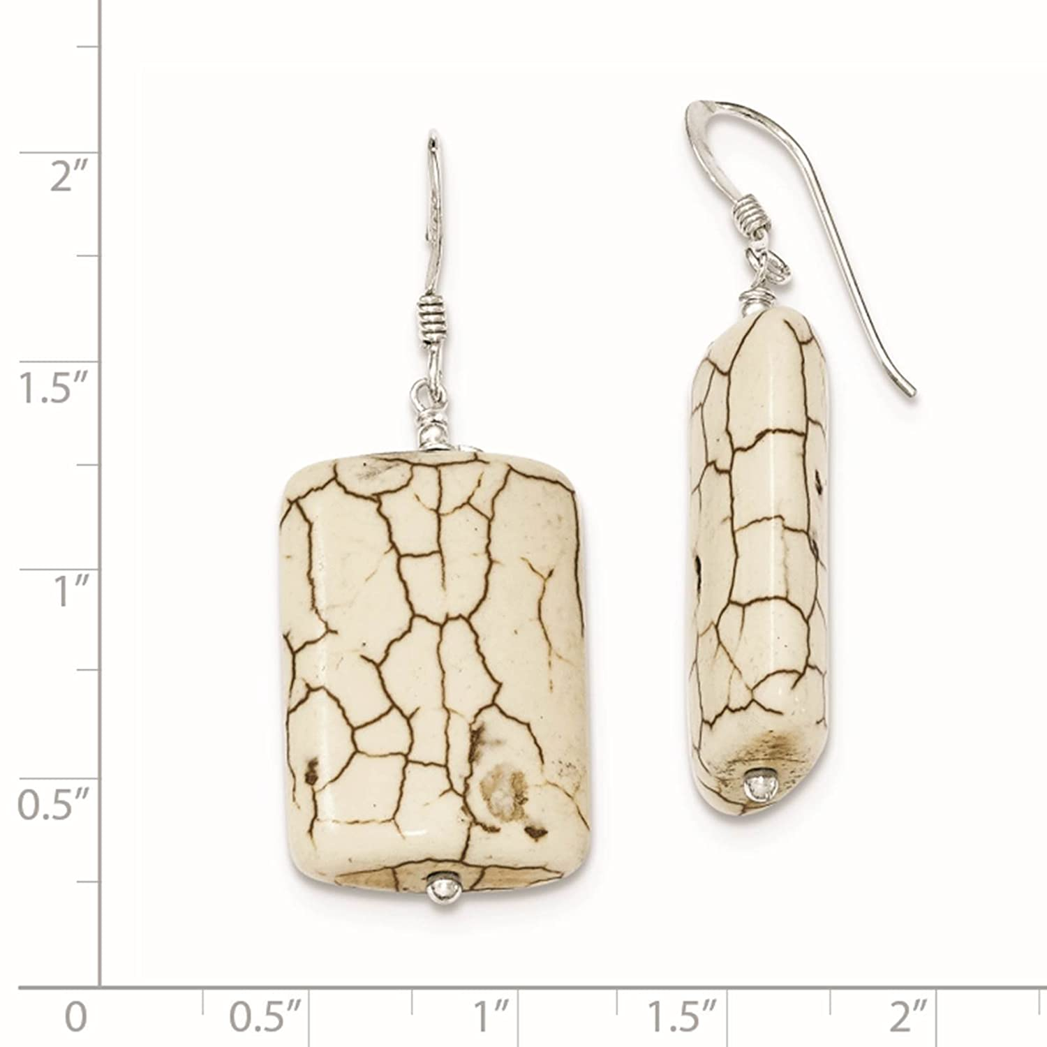 925 Sterling Silver Reconstructed Magnesite Dangle Earrings