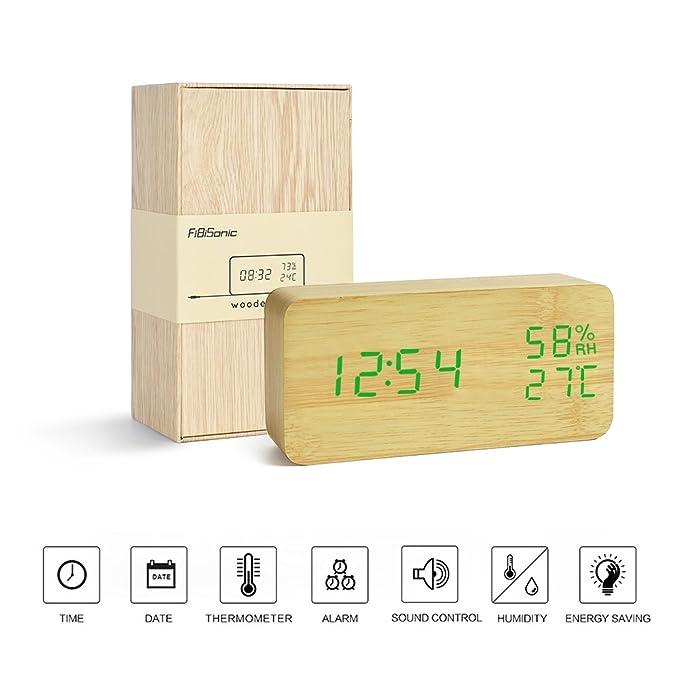 25 opinioni per FiBiSonic Sveglia Digitale a tavolo con Ore Data Temperatura Umidità Sveglia