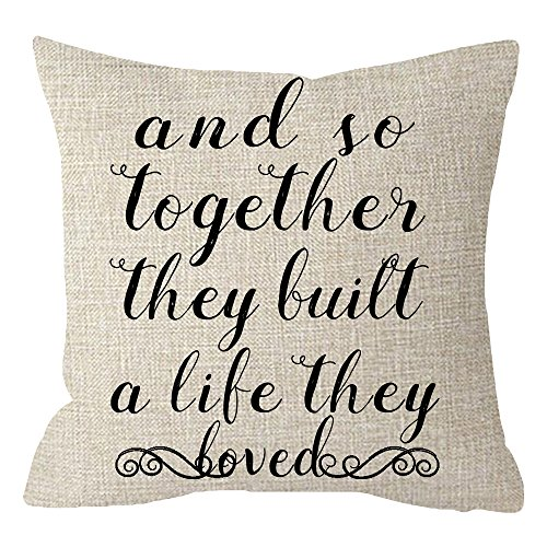 ITFRO And So Together They Built a Life They Loved Farmhouse Quote Sayings Beige Cotton Linen Throw Pillow Case Cushion Cover Square 18 Inches