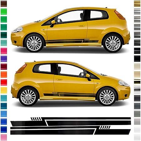 Auto Dress Seiten Streifen Aufkleber Set Dekor Passend Für Fiat Punto In Wunschfarbe Farbwunsch Auto