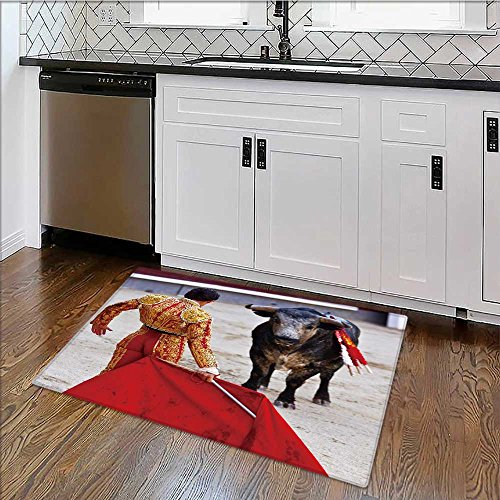 Rug for Home, Office traditional corrida bullfight in spain bulfight has been prohibited High Absorbency W39'' x H16'' by alsoeasy