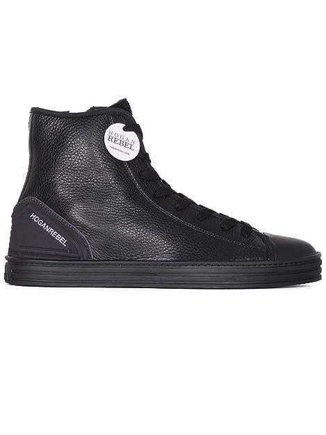 Hogan Rebel Hi Top Sneakers Uomo Hxm1410v440dzx0xcg Pelle Nero  Amazon.it   Scarpe e borse 3975d78d240