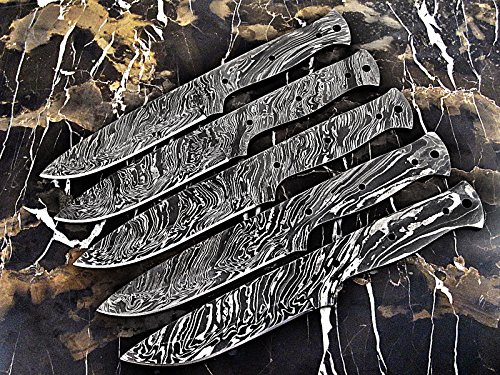 ColdLand | LOT OF 5 Handmade Damascus Steel Blank Blades Knife Making Supplies LOT5xSB85