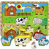 Lewo Chunky Wooden Puzzle Toddlers Barnyard Farm Animals Jigsaws (7 pcs)