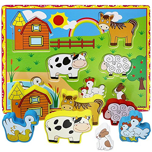 Farm Animals Chunky Puzzle - Lewo Chunky Wooden Puzzle for Toddlers Barnyard Farm Animals Jigsaws (7 pcs)