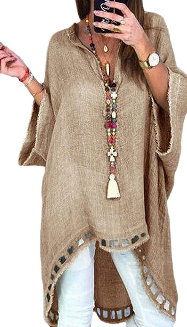 Xswsy XG Womens V Neck High Low Hollow Out Casual Tunic Top Tee Shirt