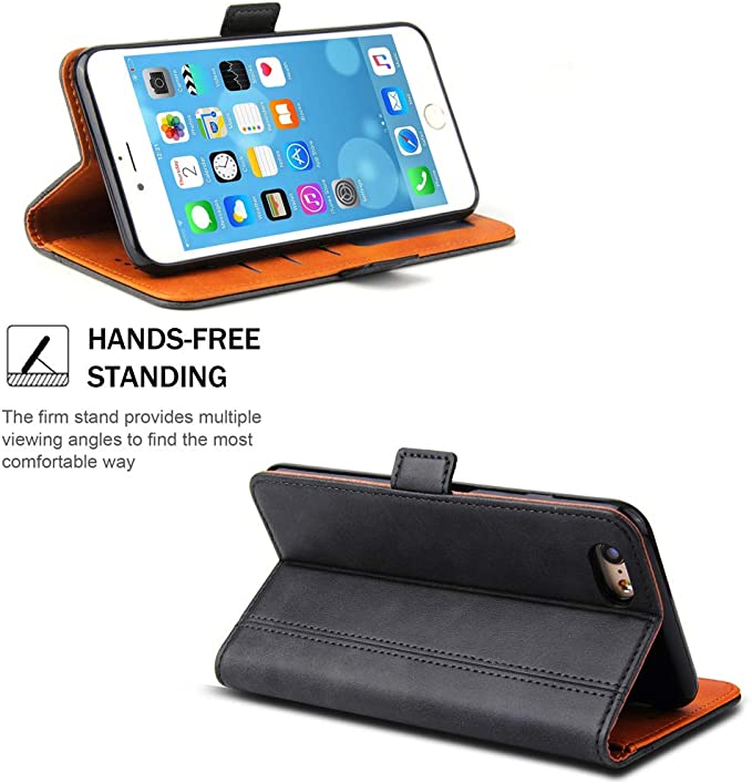 iPhone 6 Case Bozon Wallet Case for iPhone 6// 6S Flip Folio Leather Cover with Stand//Card Slots and Magnetic Closure Brown iPhone 6S Case
