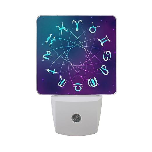 Naanle Set of 2 Zodiac Circle with Constellation Sign Purple Starry Universe Taurus Gemini Leo Aquarius