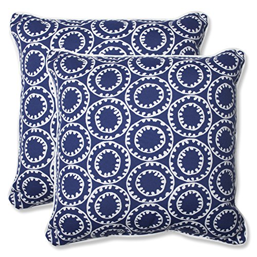 Pillow Perfect Outdoor Ring a Bell Throw Pillow, 18.5-Inch, Navy, Set of 2