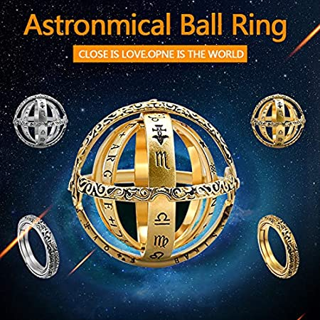 XKBESTGO Astronomical Finger Foldable Ring That Folds Out to an Astronomical Sphere Ring Luxury Hand-Carved