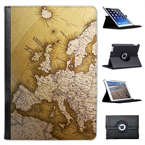 Around the Worldレザーフォリオプレゼンターケースカバーバッグスタンド機能for Apple iPad Mini, iPad Mini 2 , iPad Mini, iPad Mini Retina, iPad Mini 3 ブラック FOL2-BK-502  Close Up Of Europe On Globe B00HYDZ00Q