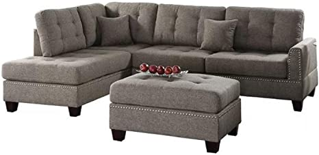 Sectional Sofa Couch Chic Design Romulus Reversible Sectional Sofa Couch With Ottoman Features Short Wooden Legs Tufted Seat And Back And Nailhead Trim Coffee Amazon Ca Home Kitchen