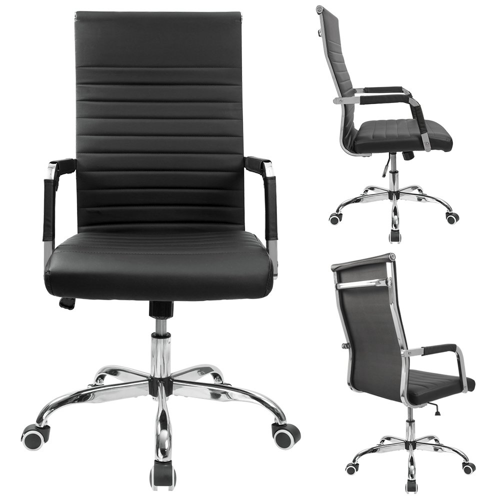 Furmax Ribbed Office Desk Chair Mid-Back Leather Executive Conference Task Chair Adjustable Swivel Chair with Arms (Black) by Furmax (Image #2)