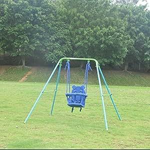 Folding toddler indoor outdoor swing set for Baby garden swing amazon