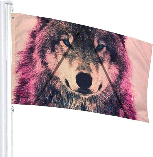 Nero per Interni ed Esterni 0,9 x 1,5 m Bandiere Decorative da Giardino Taglia Unica UKFaaa Motivo: Lupo
