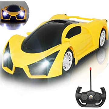 Kulariworld Remote Control Car 1/16 RC Super Cars Toys for Kids High Speed Vehicel Racing Hobby with Led Lights Best Gifts for Boys Girls (Yellow)