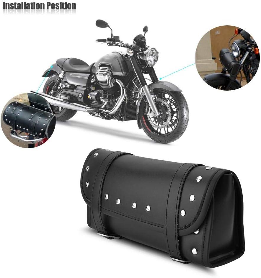 Delaman Motorrad Tasche PU Leder Motorrad Vorne Hinten Gabel Werkzeugtasche Lenkertaschen Gep/äck Satteltasche Schwarz