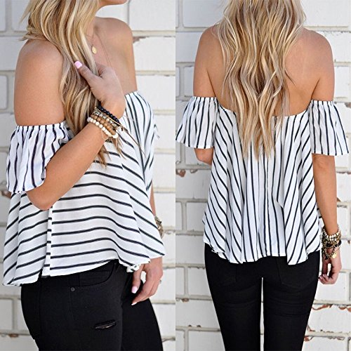 Hylong Summer Womens Ladies Casual Off The Shoulder Tops Tank Lesiure T-Shirt Blouse by Hylong (Image #4)