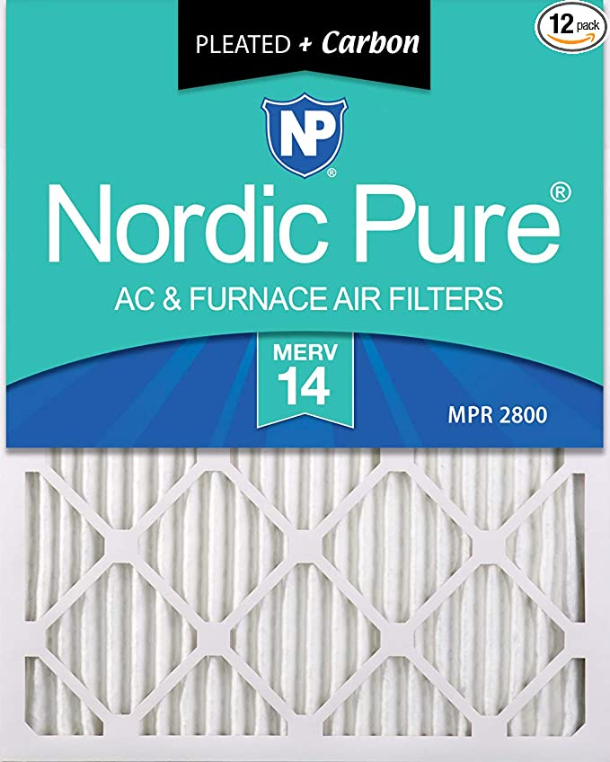 12 Pack Nordic Pure 12x20x1 MERV 14 Plus Carbon Pleated AC Furnace Air Filters