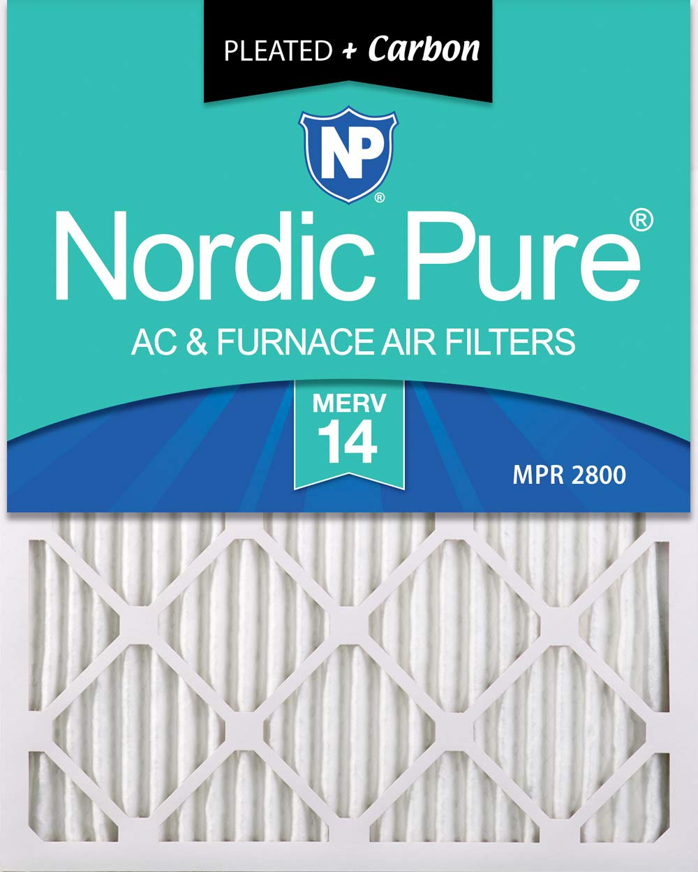 Nordic Pure 20x30x1 MERV 14 Plus Carbon Pleated AC Furnace Air Filters, 2 PACK, 2 Piece