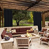 cololeaf Outdoor Curtains For Patio Extra wide Waterproof Curtain Panels For Porch, Gazebo, Pergola, Cabana, dock, beach home - Anti-Bronze Grommet - Black 150'' Wx96 L Inch (1 panel)