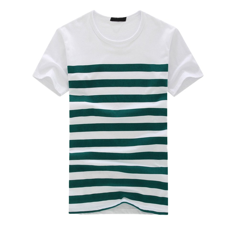 Mens Slim Fit Personality New Stripe Short Sleeve Printed Fitness Muscle Pollover Shirt Tops Blouse Green